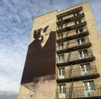 На общежитии РГУ нарисовали Сергея Есенина