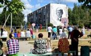 В Спас-Клепиках нарисовали Сергея Есенина на стене пятиэтажки